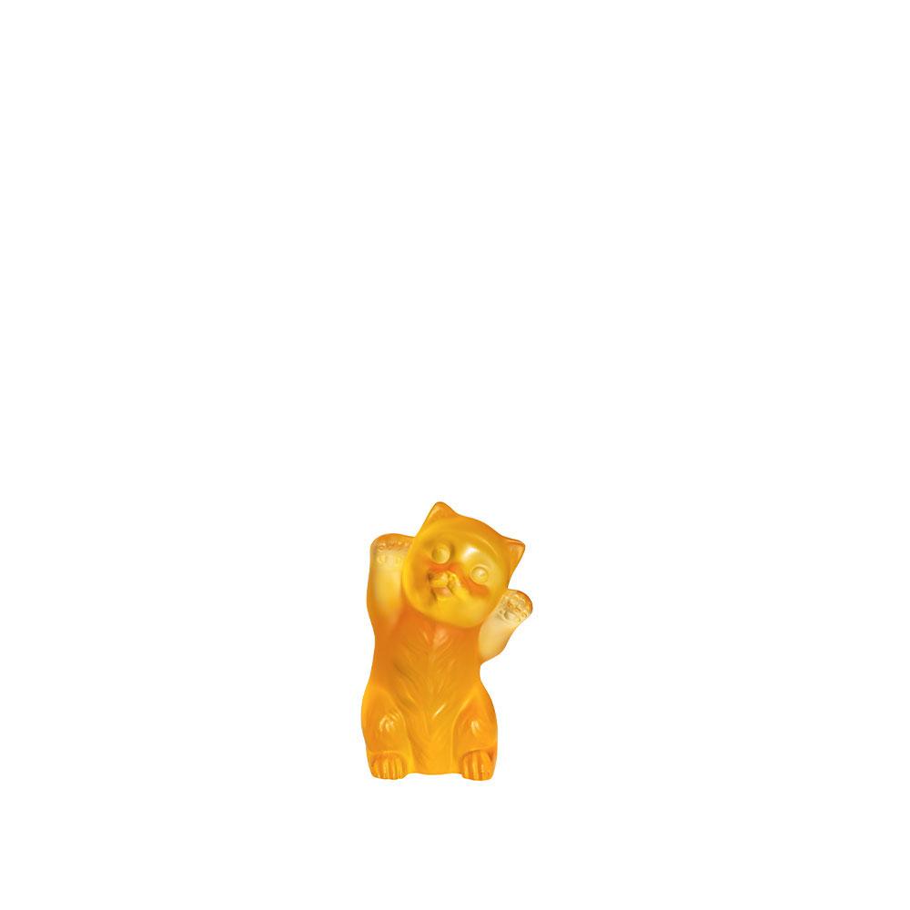 Lalique Kitten Sculpture, Amber
