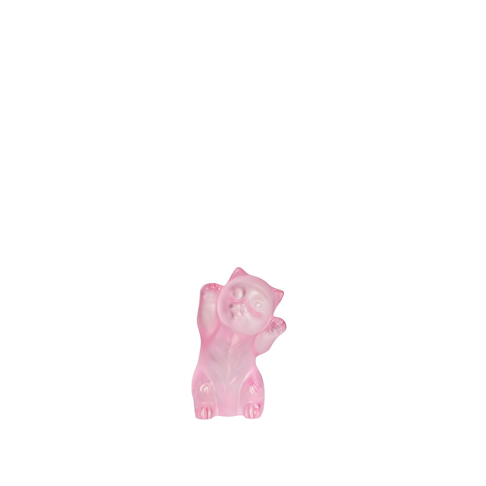 Lalique Kitten Sculpture, Pink, Limited Edition