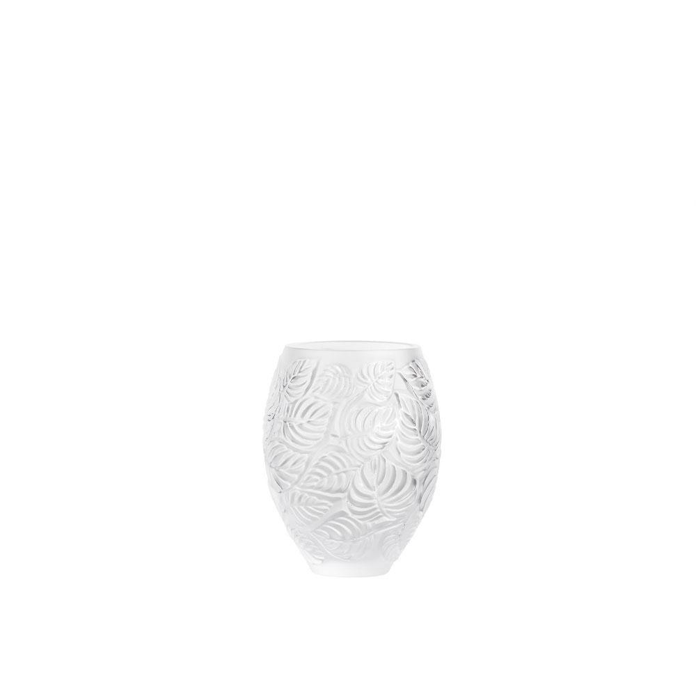 """Lalique Feuilles 6.5"""" Vase, Clear"""