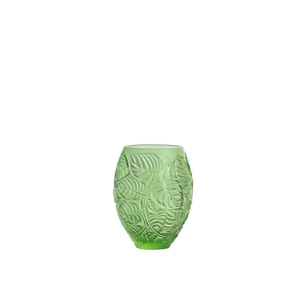 "Lalique Feuilles 6.5"" Vase, Green"