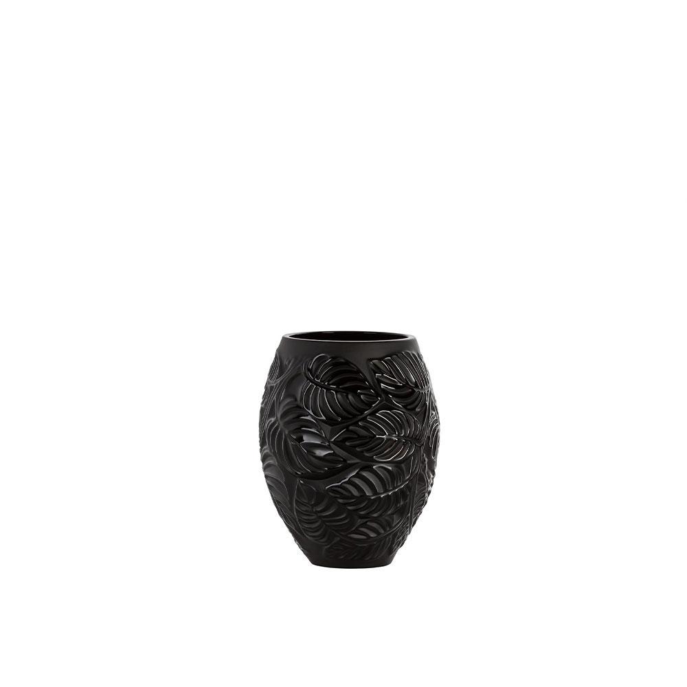 """Lalique Feuilles 6.5"""" Vase, Black"""