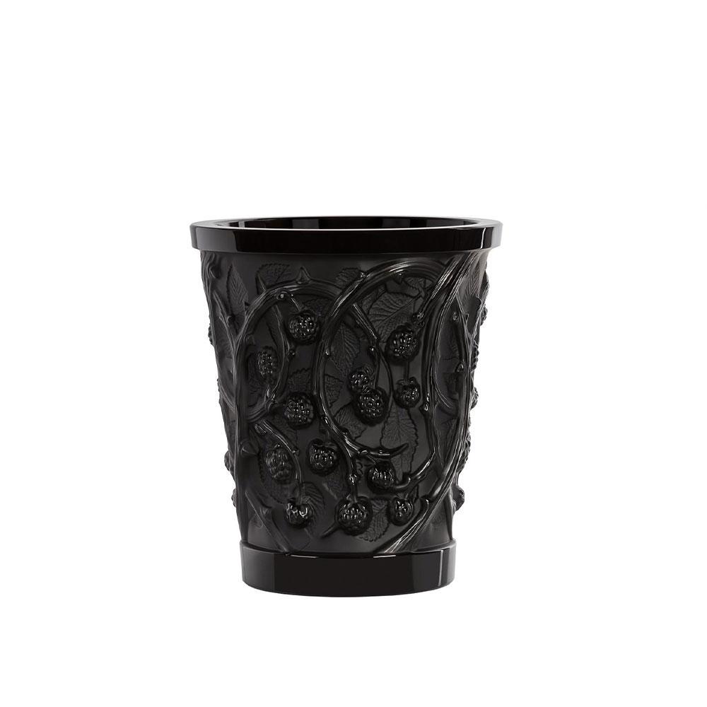 """Lalique Mures 10"""" Vase, Black"""
