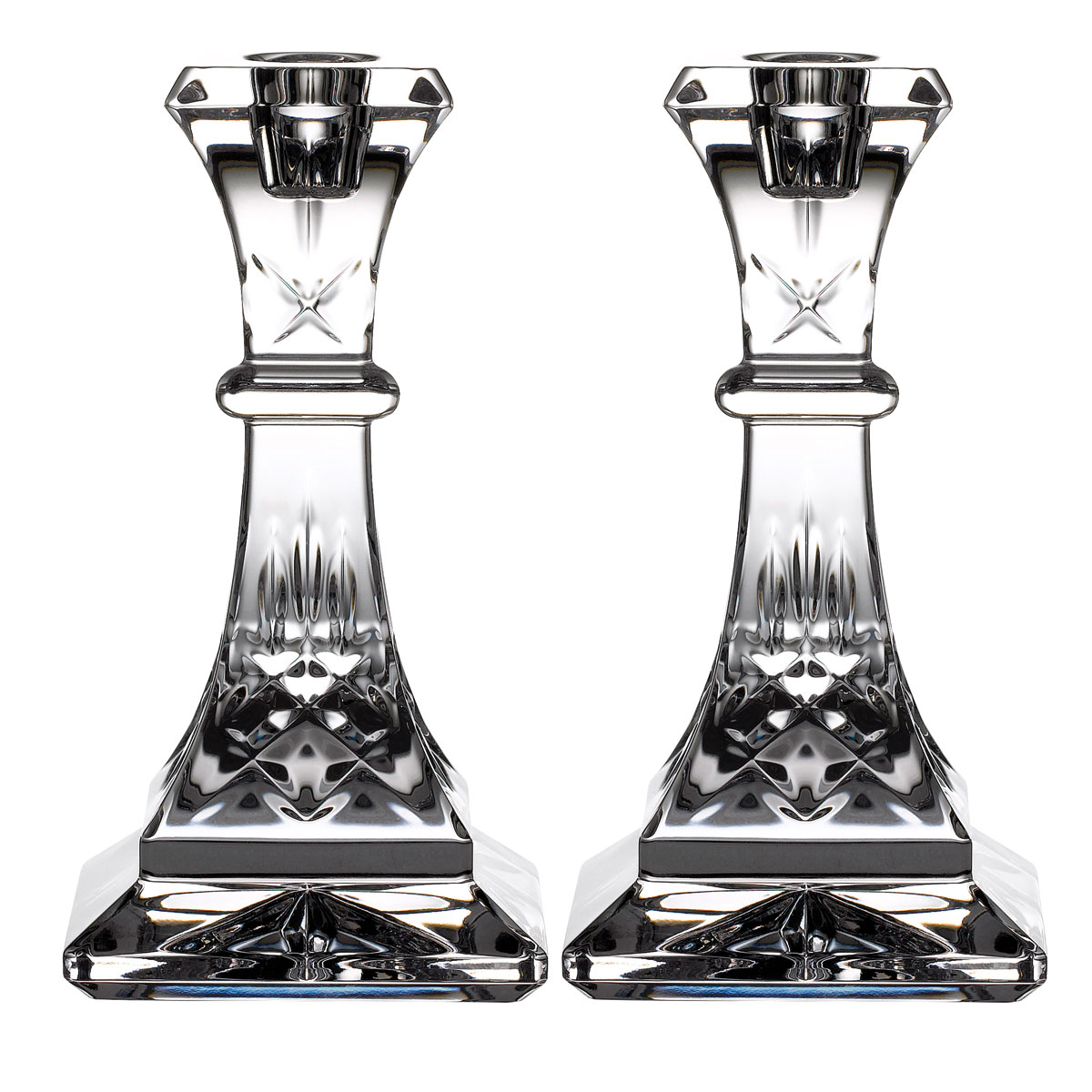 "Waterford Crystal, Lismore 6"" Crystal Candlestick, Pair"