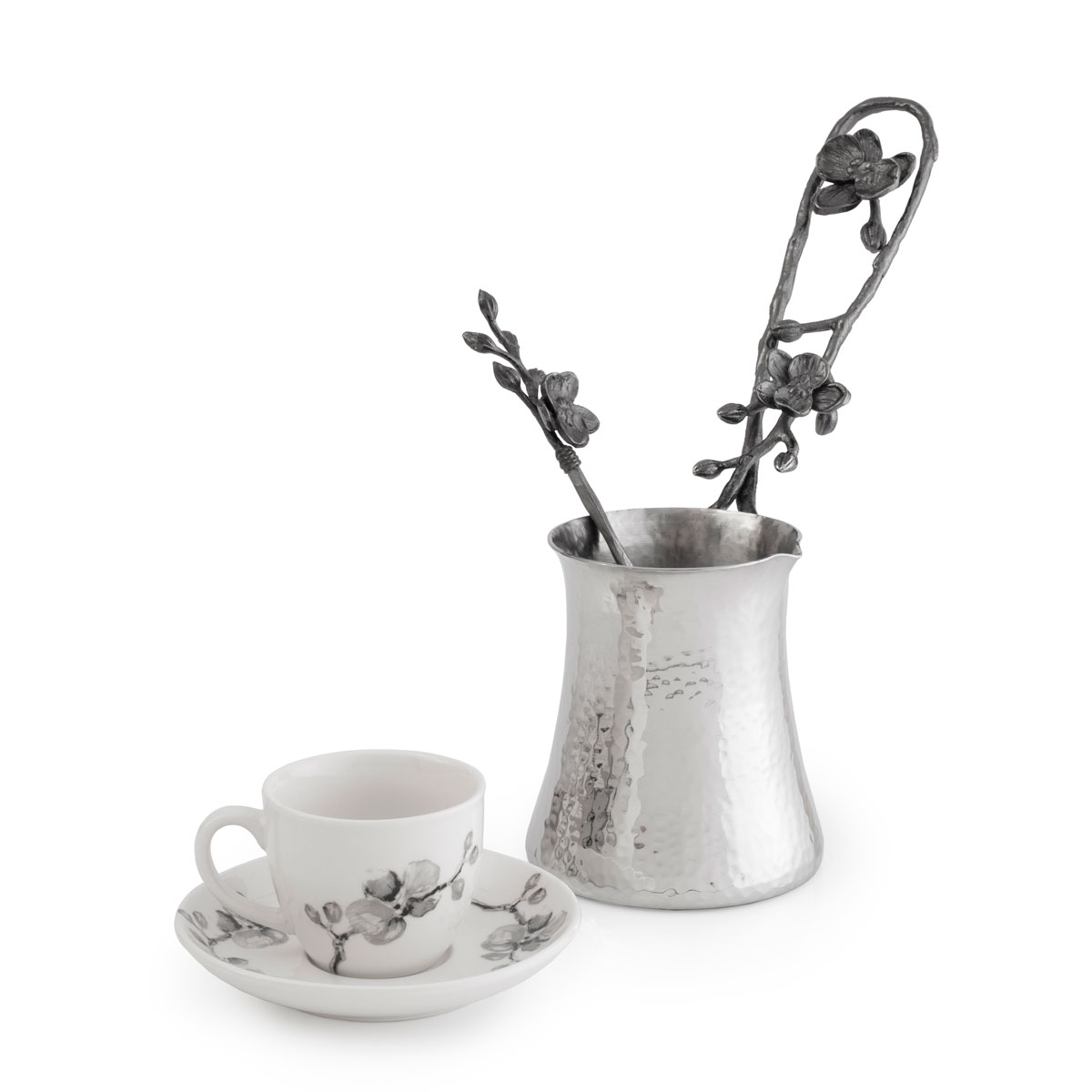 Michael Aram Black Orchid Coffee Pot and Demistasse Set