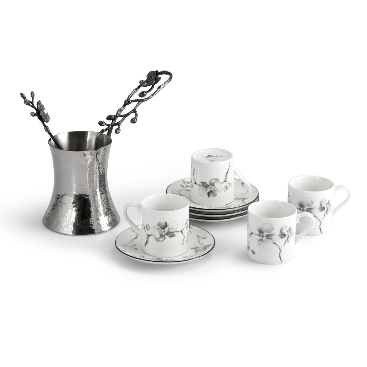 Michael Aram Black Orchid Coffee Pot and Demitasse Set