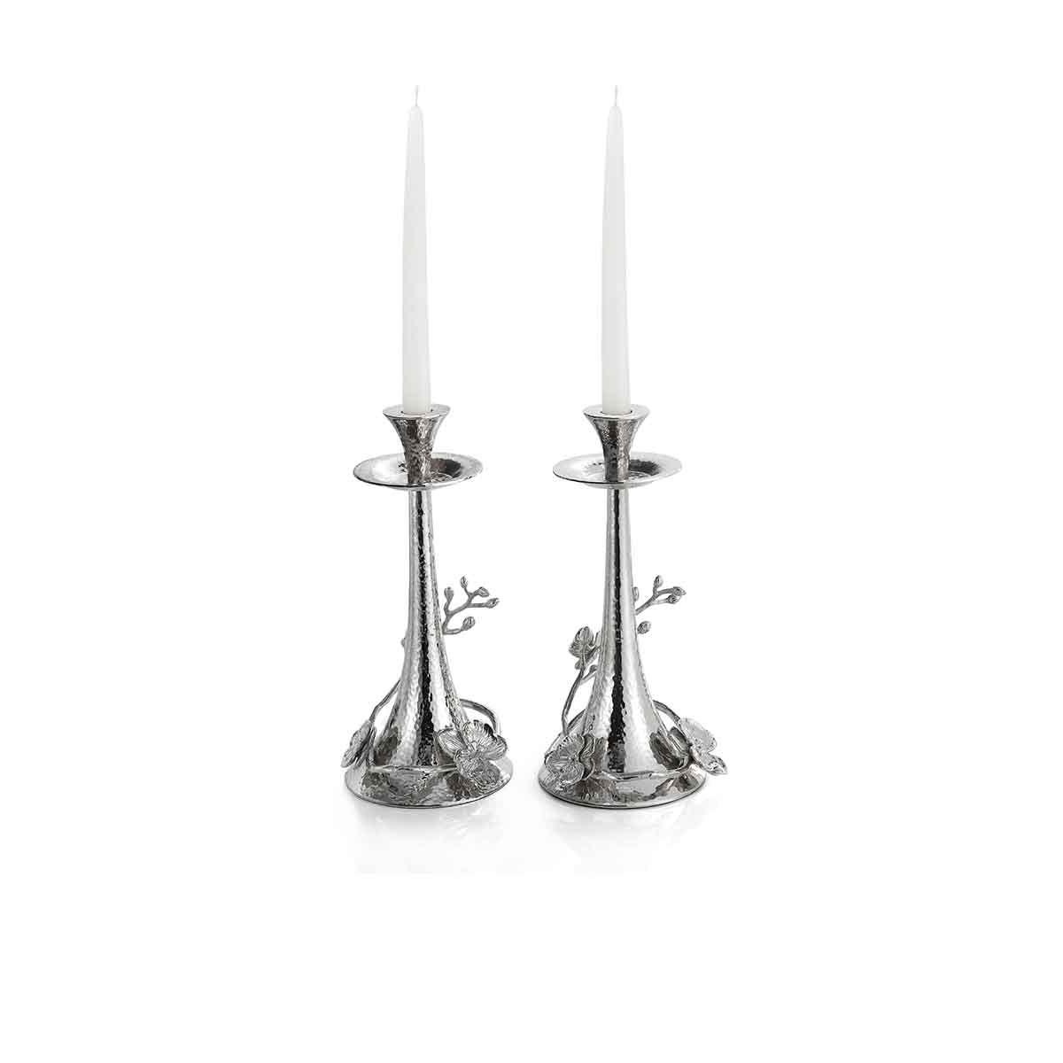 Michael Aram White Orchid Candleholder, Pair