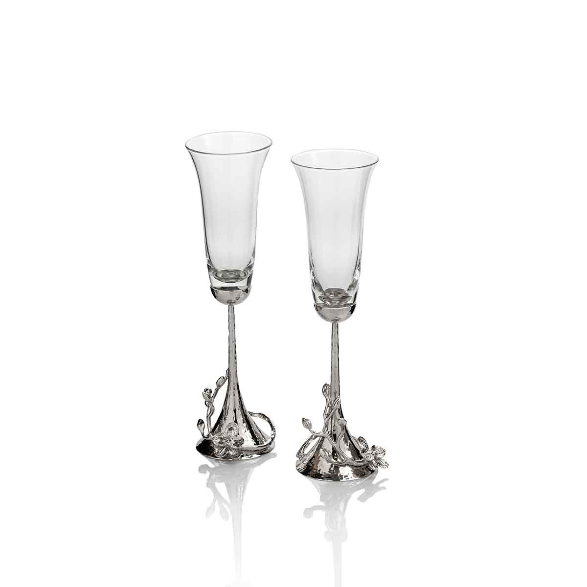 Michael Aram, White Orchid Toasting Crystal Flute, Pair