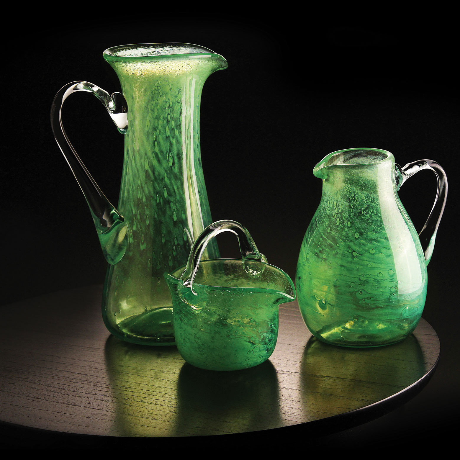Cashs Ireland, Art Glass Forty Shades of Green, Medium Pitcher