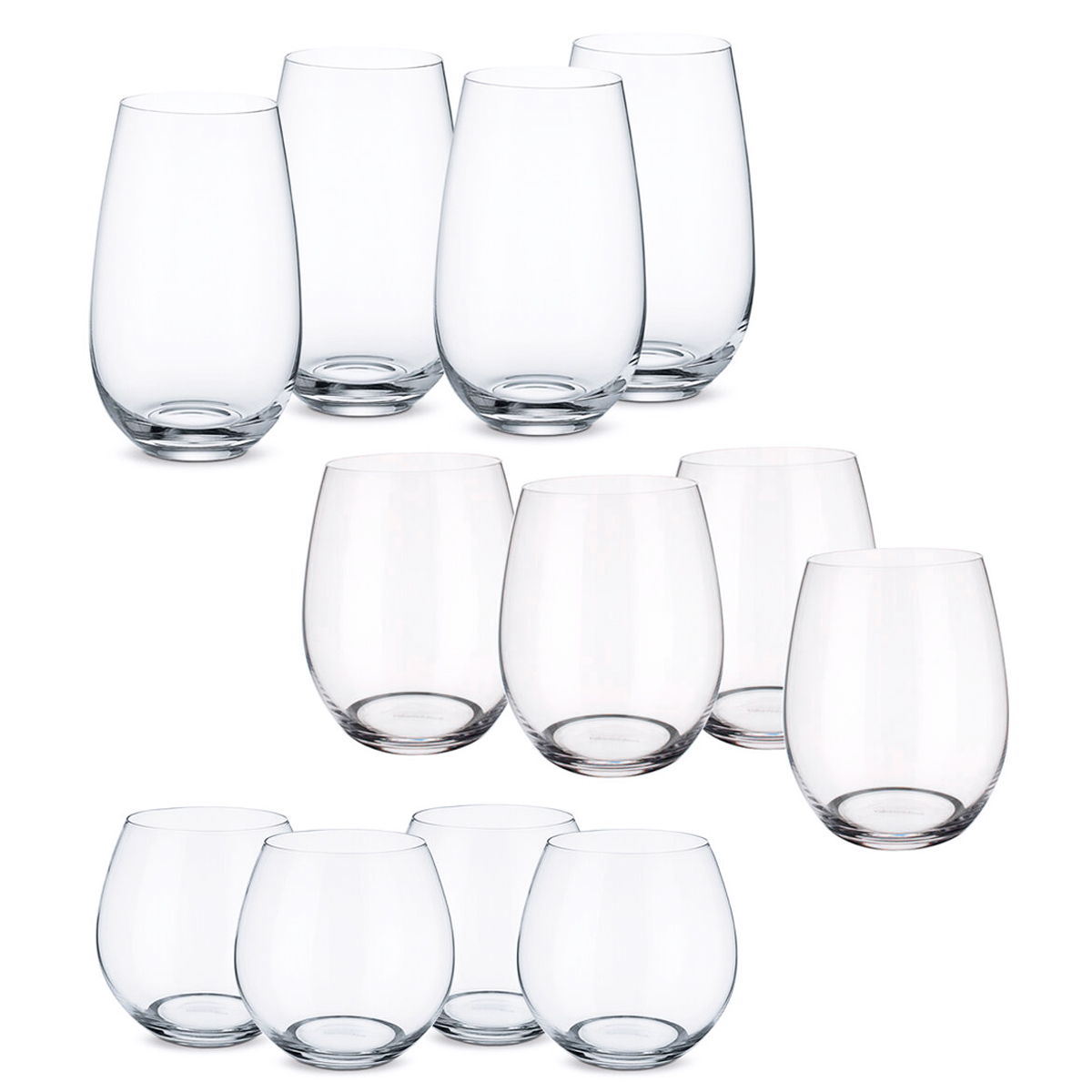 Villeroy and Boch Entree 12 Piece Stemless Wine Glasses Set