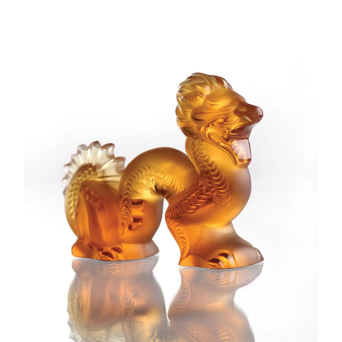 Lalique Crystal, Dragon, Amber, Small