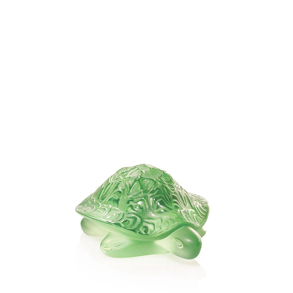 "Lalique Sidonie Turtle Light Green 3"" Sculpture"
