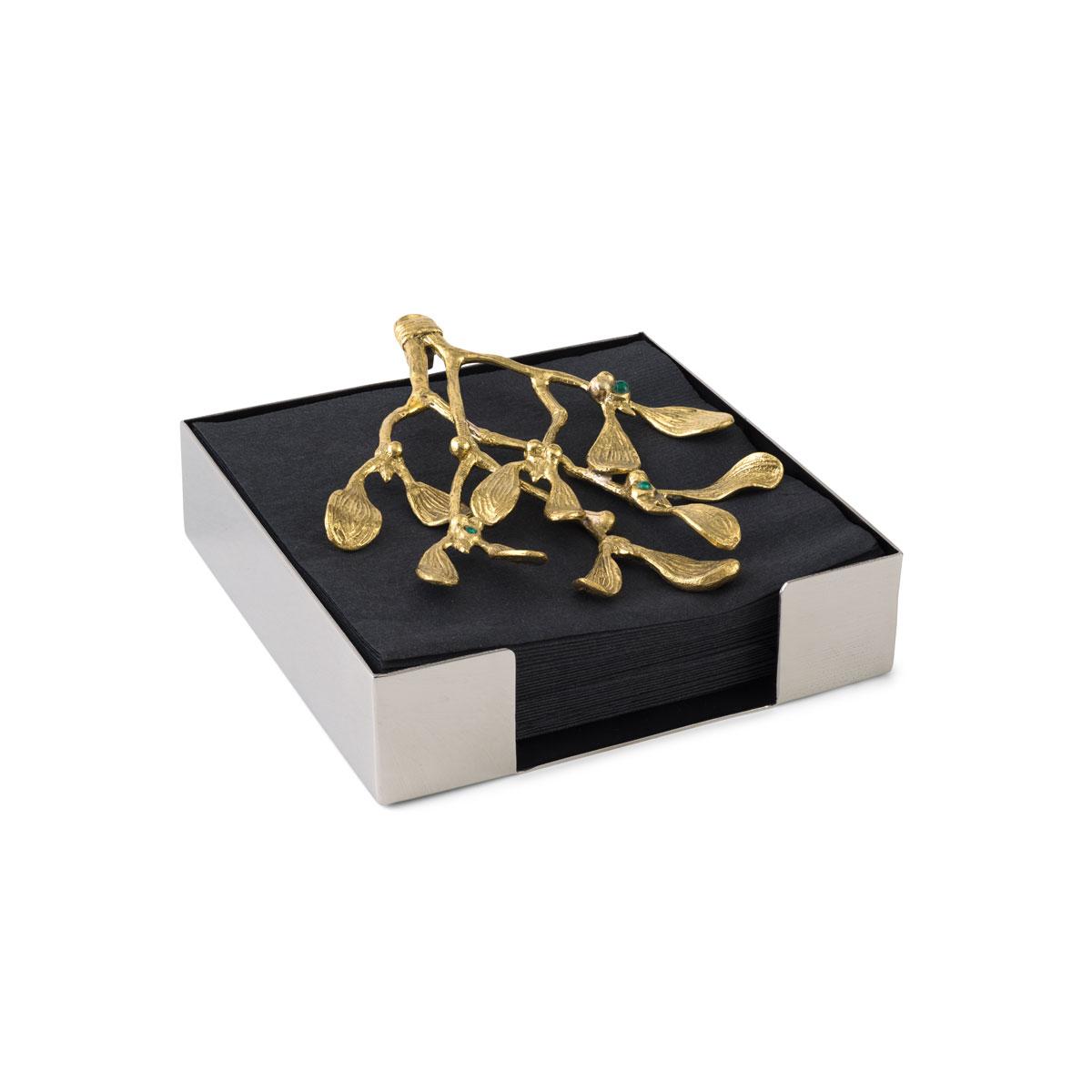 Michael Aram Mistletoe Cocktail Napkin Box