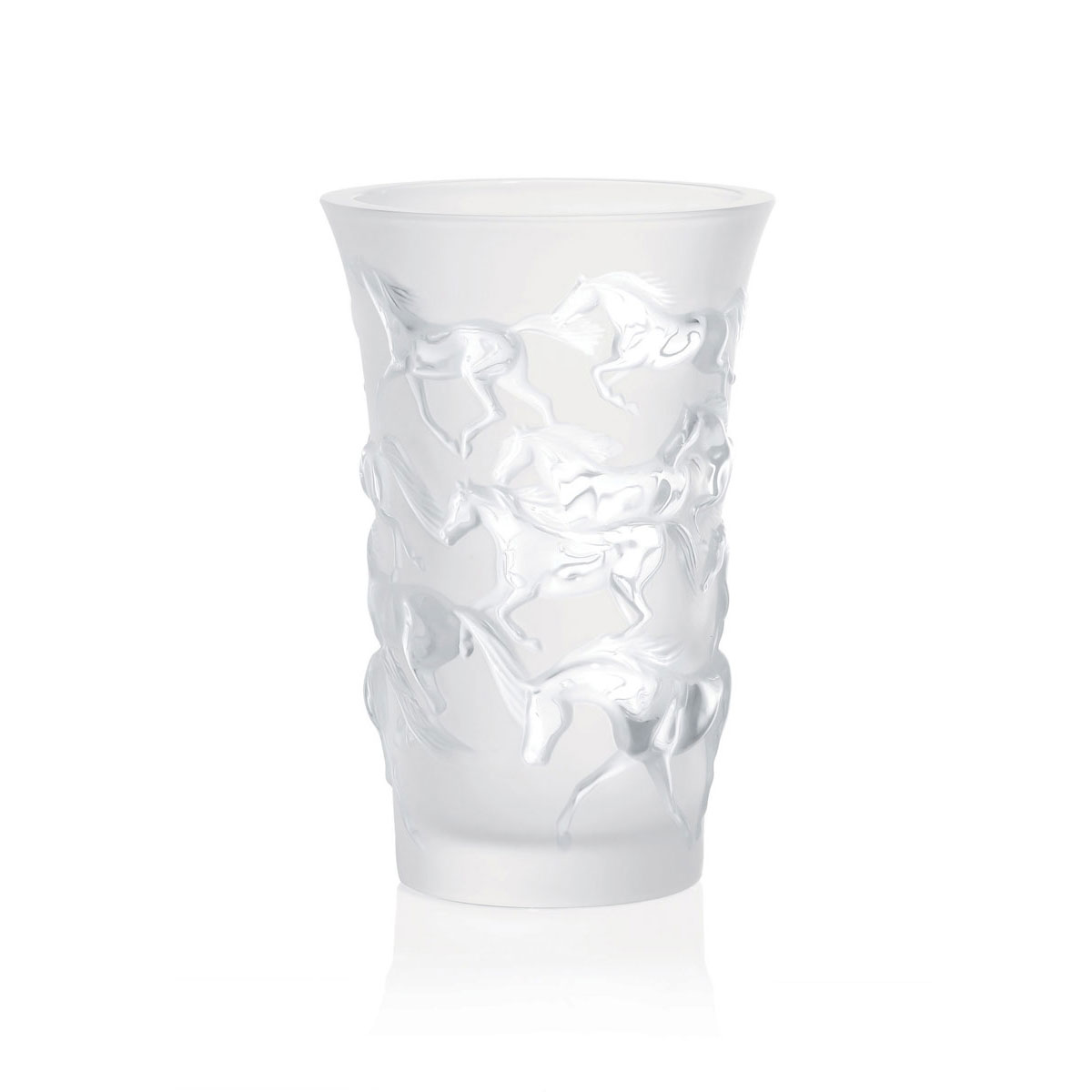 "Lalique Crystal, Mustang 7"" Crystal Vase"