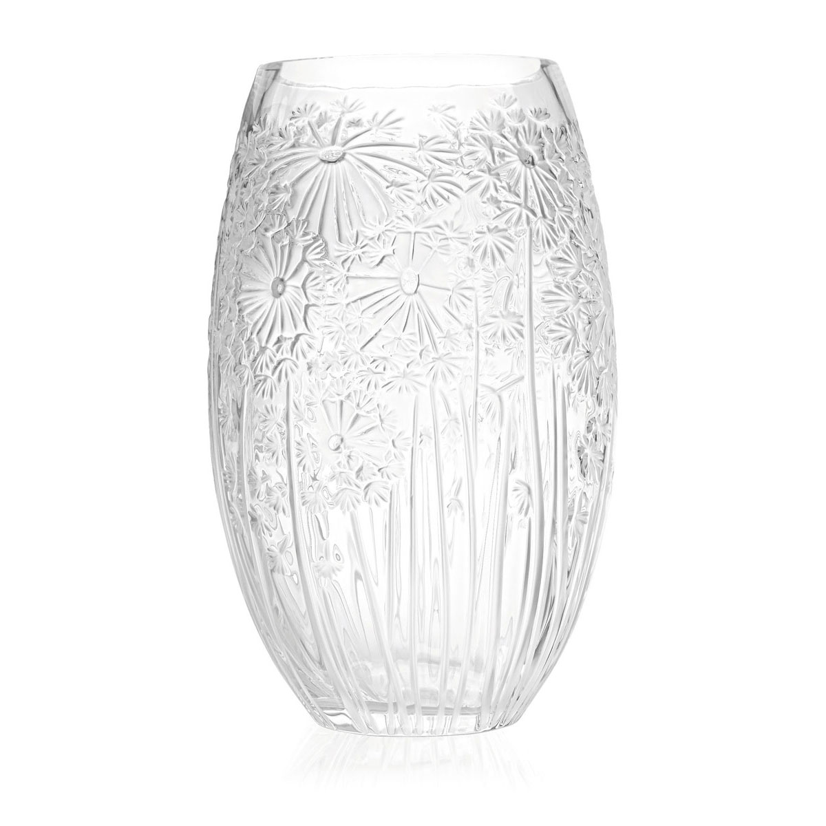 Lalique Crystal, Bucolique Crystal Vase Large Clear