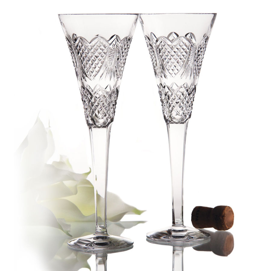 Waterford Crystal, Wedding Heirloom Toasting Crystal Flutes, Pair