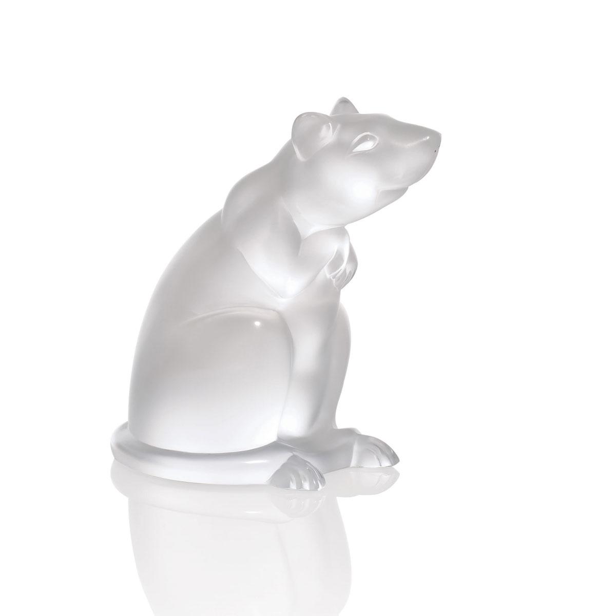 Lalique Rat Sculpture, Clear