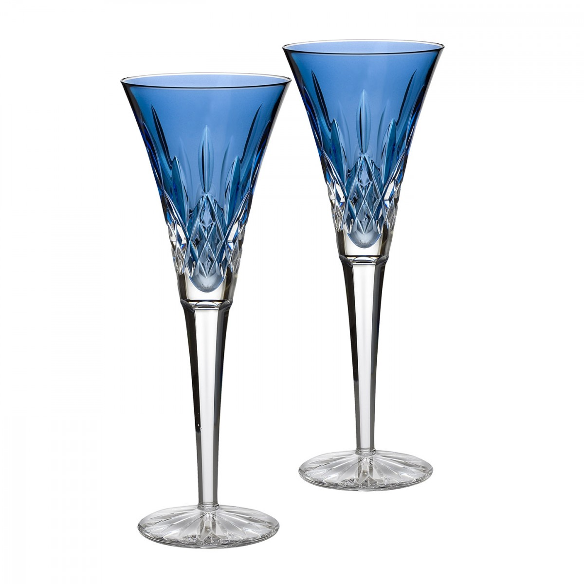 Waterford Crystal, Lismore Jewels Sapphire Toasting Crystal Flutes, Pair