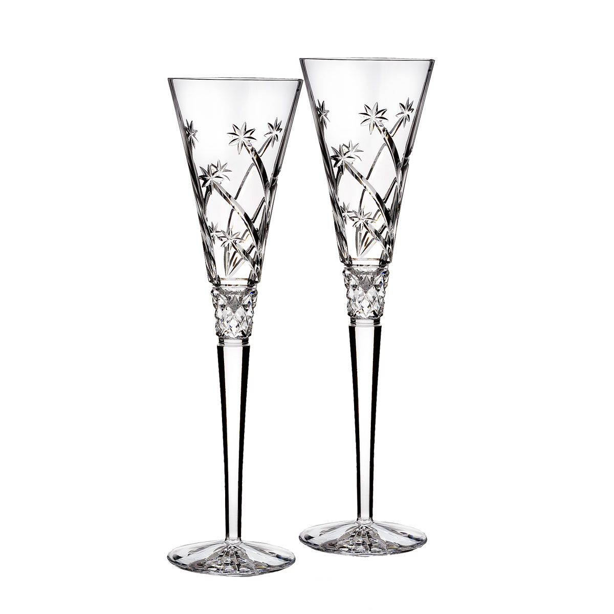 Waterford Crystal, Wishes Believe Toasting Crystal Flutes, Pair