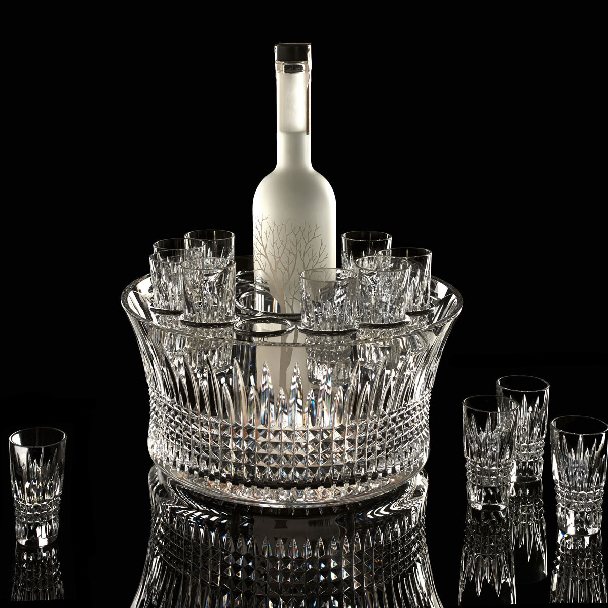 Waterford Crystal, Lismore Diamond Vodka Set With 6 Shot Crystal Glasses and Chill Crystal Bowl