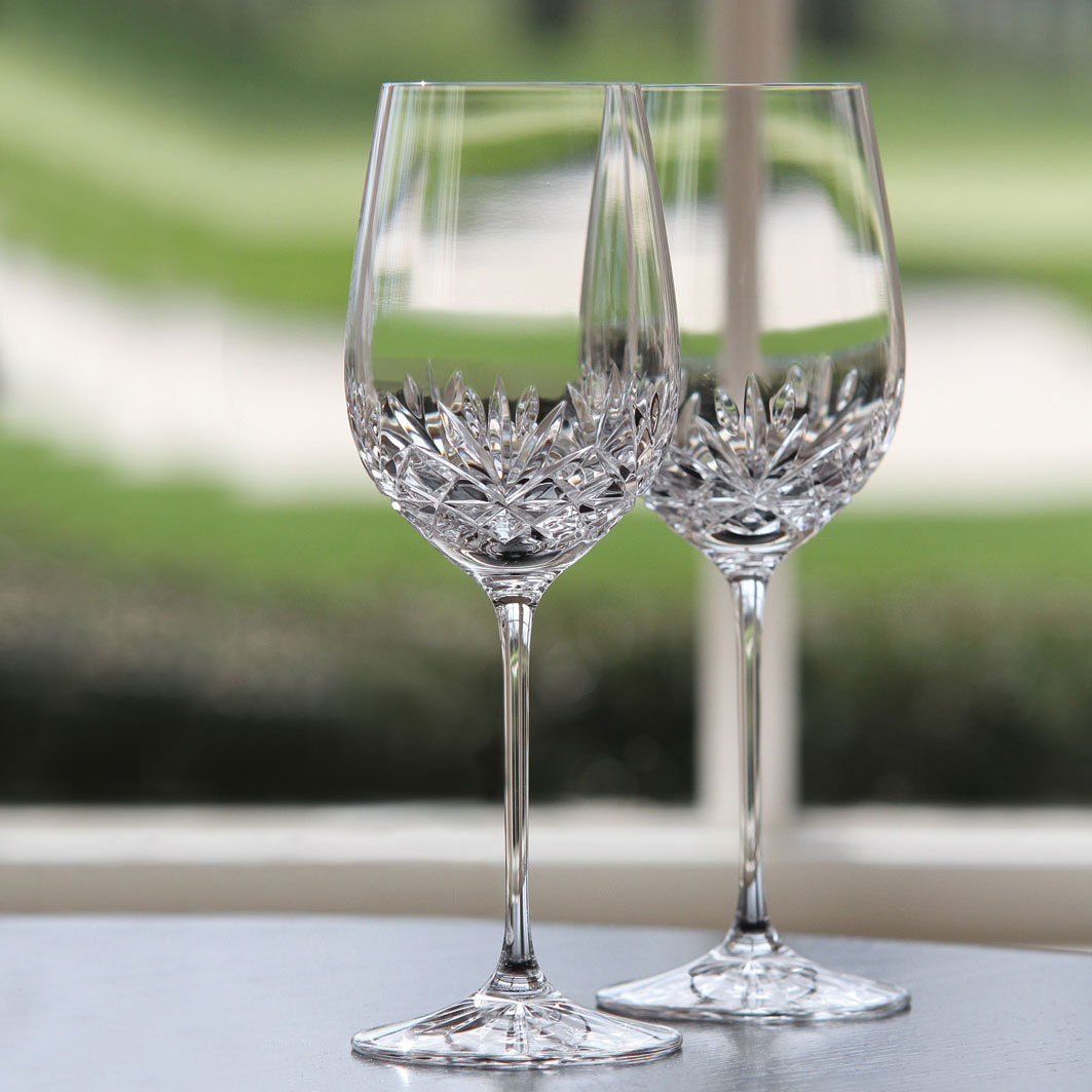 Cashs Ireland, Annestown Crystal White Wine Glass, Pair