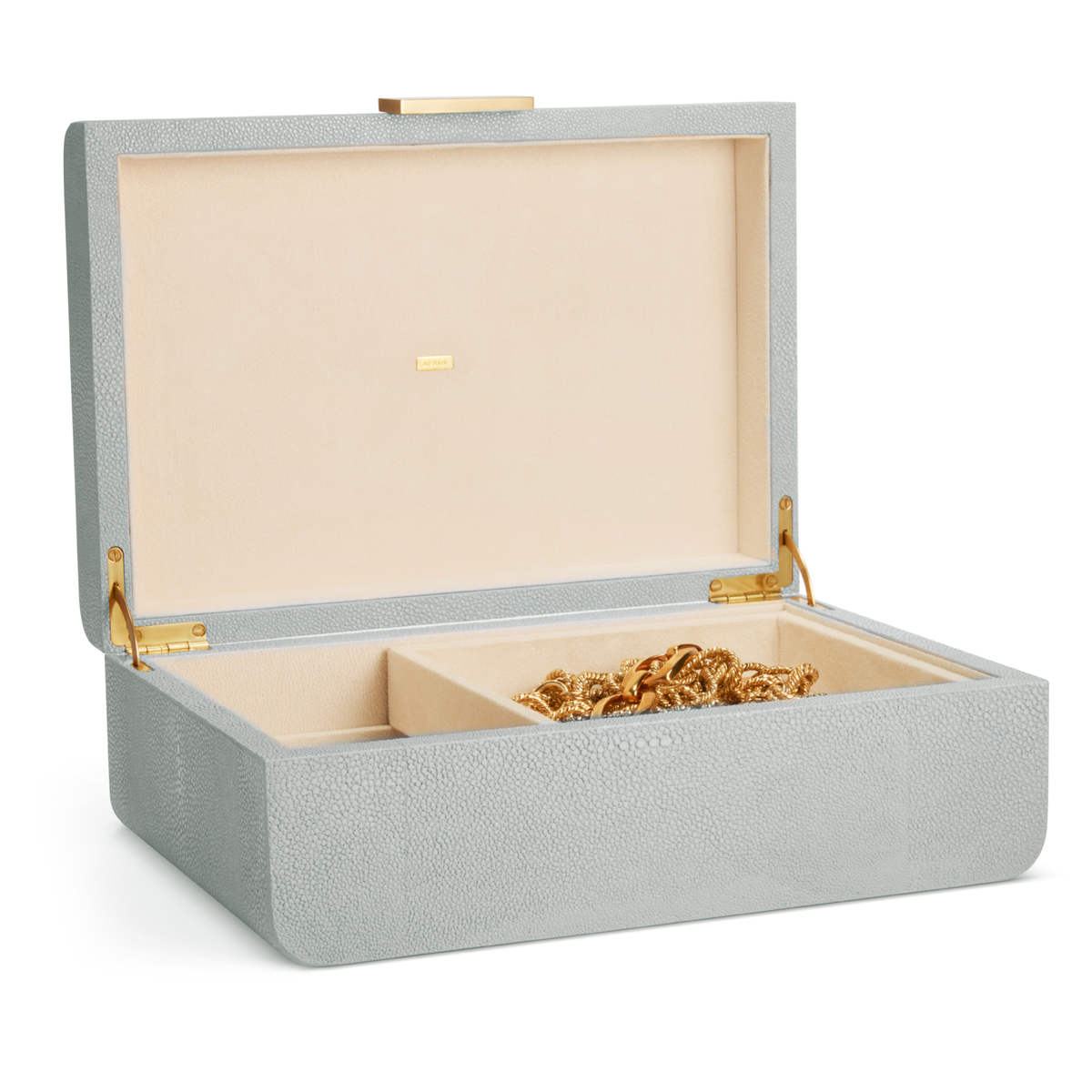 Aerin Modern Shagreen Large Jewelry Box, Mist