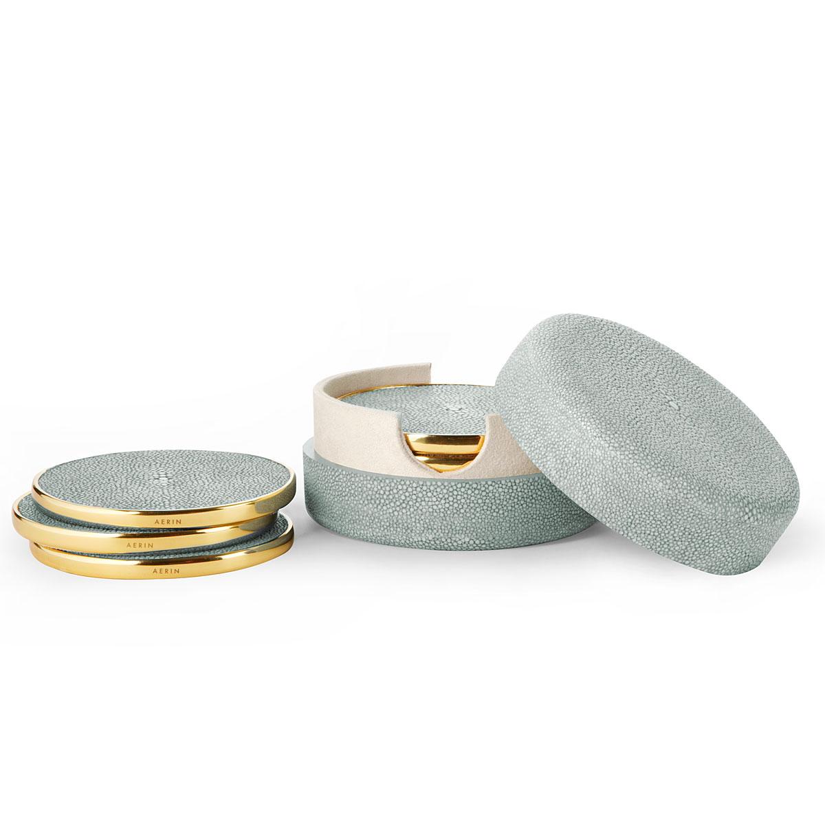 Aerin Shagreen Coasters, Mist Set of Four