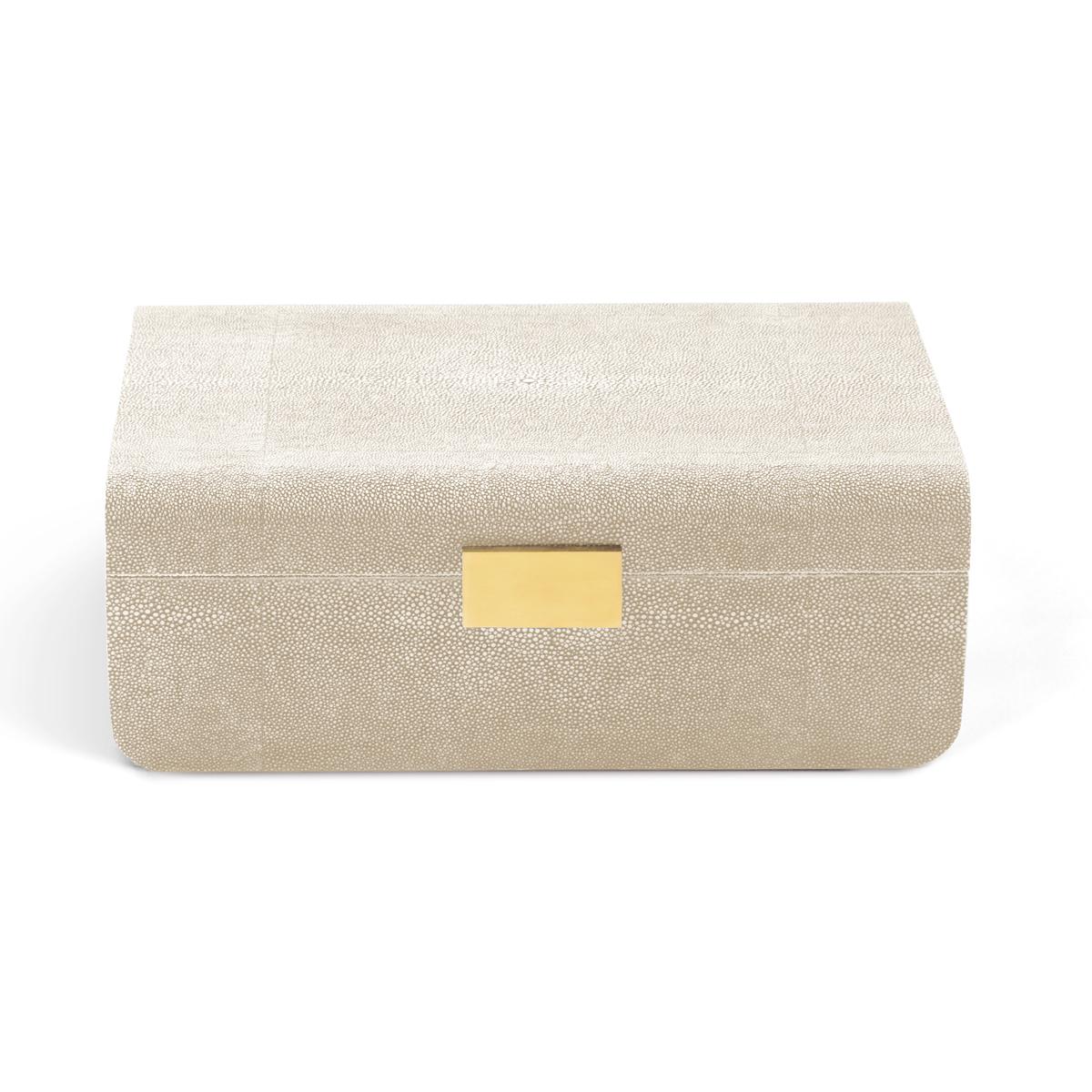 Aerin Modern Shagreen Large Jewelry Box, Wheat