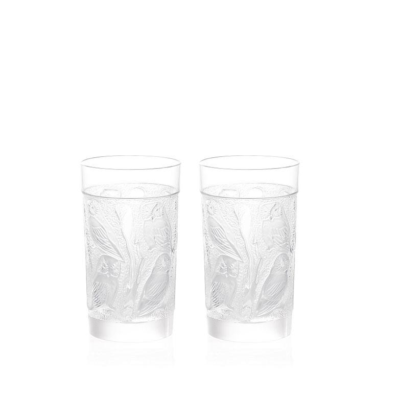 Lalique Crystal, Owl Crystal Hiball Tumbers, Pair
