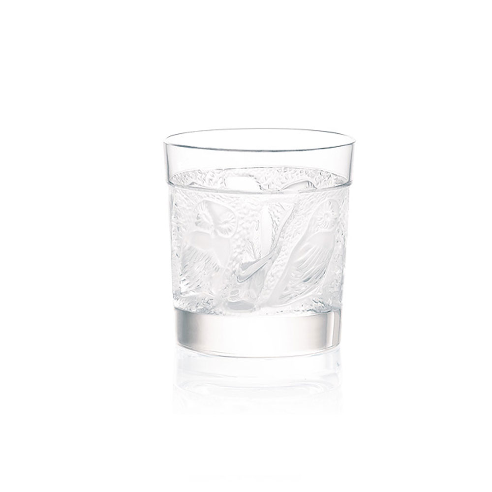Lalique Owl Crystal Old Fashioned Tumblers, Pair