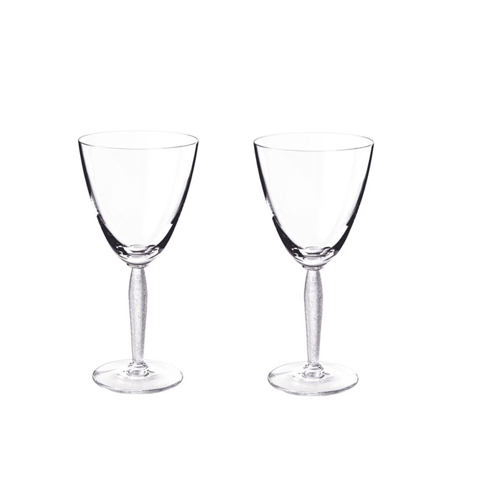 Lalique Crystal, Louvre Wine Glass, Pair