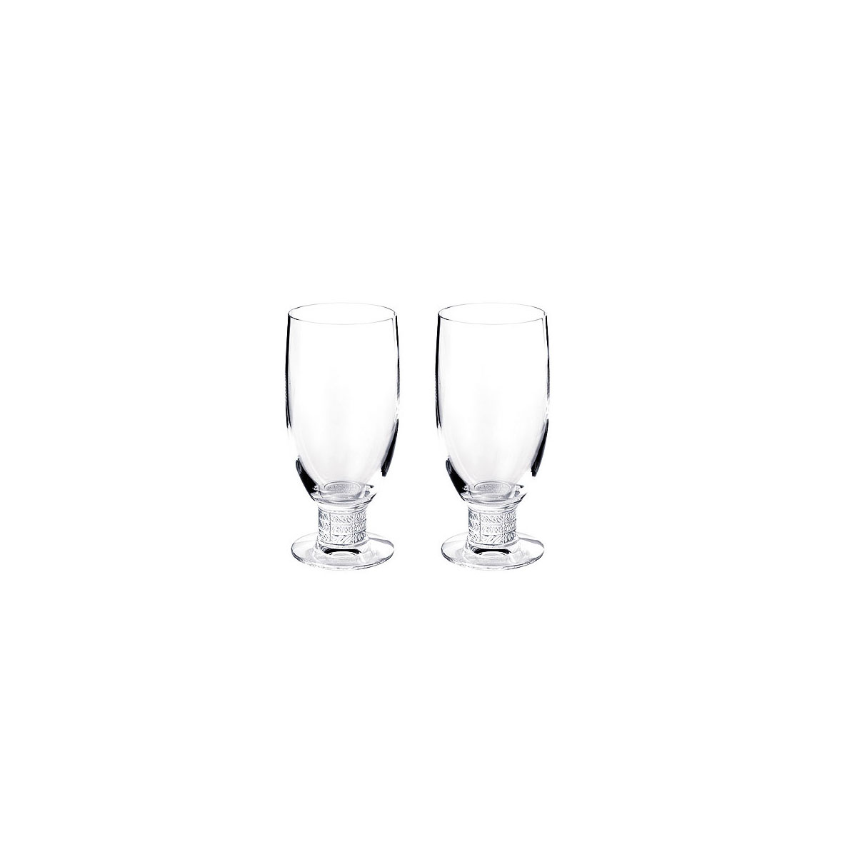 Lalique Louvre Beer Glasses, Pair