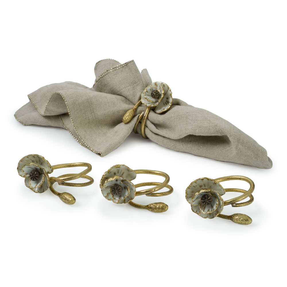Michael Aram Anemone Napkin Rings Set of Four