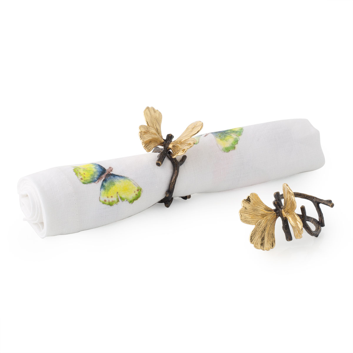 Michael Aram Butterfly Ginkgo Napkin Ring Set of Four