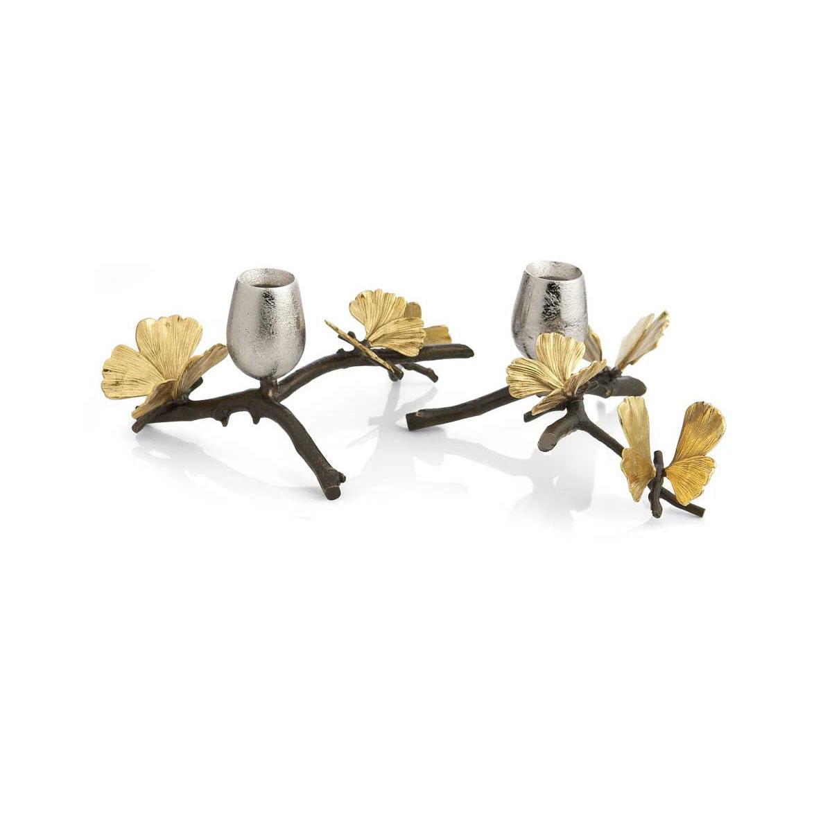 Michael Aram Butterfly Ginkgo Low Candleholder, Pair