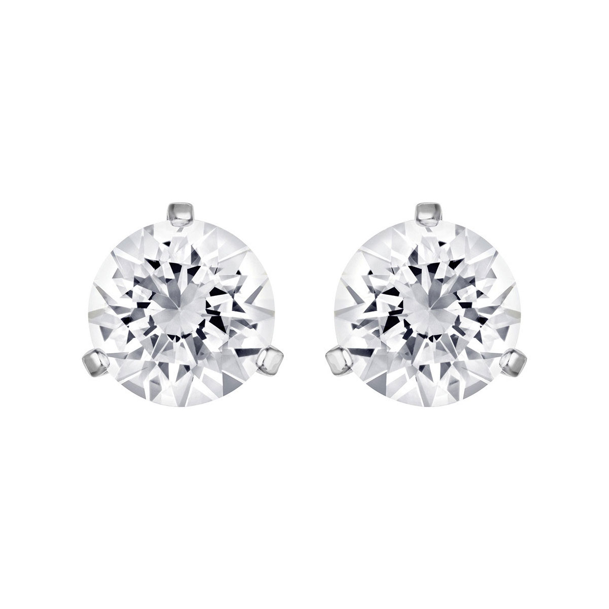 Swarovski Solitaire Pierced Earrings, White, Rhodium