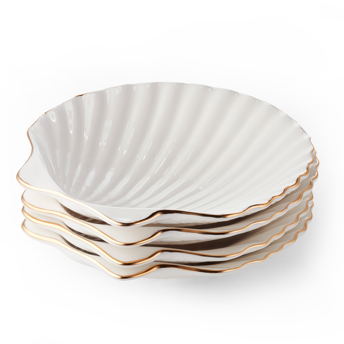 Aerin Shell Appetizer Plates, Set of Four