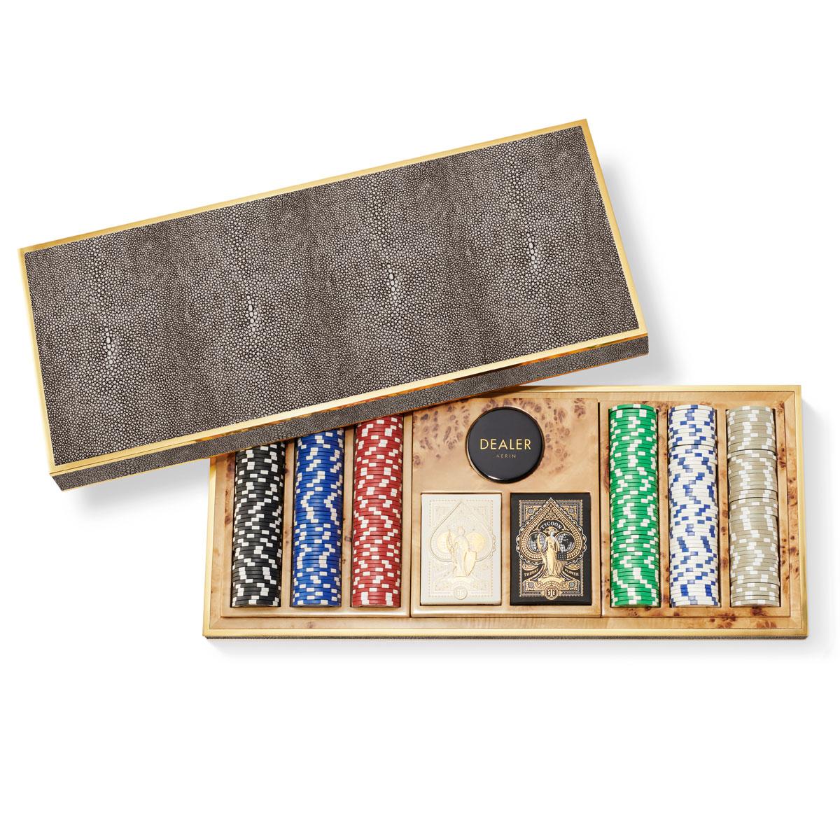 Aerin Shagreen Poker Set, Chocolate