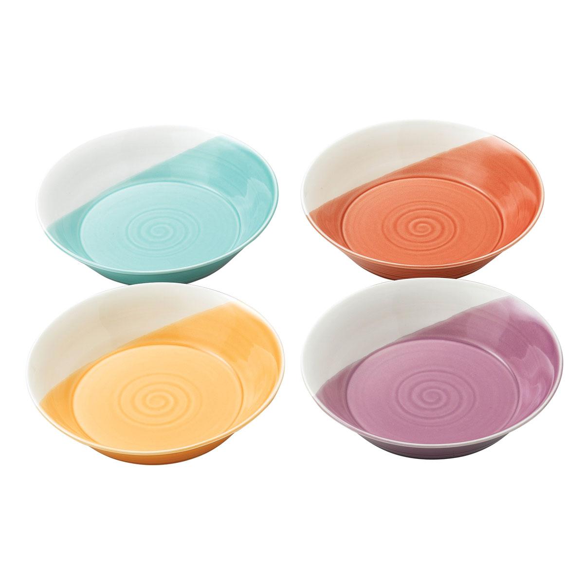 """Royal Doulton 1815 Mixed Patterns Pasta Bowl 9.1"""" Set of 4 Bright Colors"""