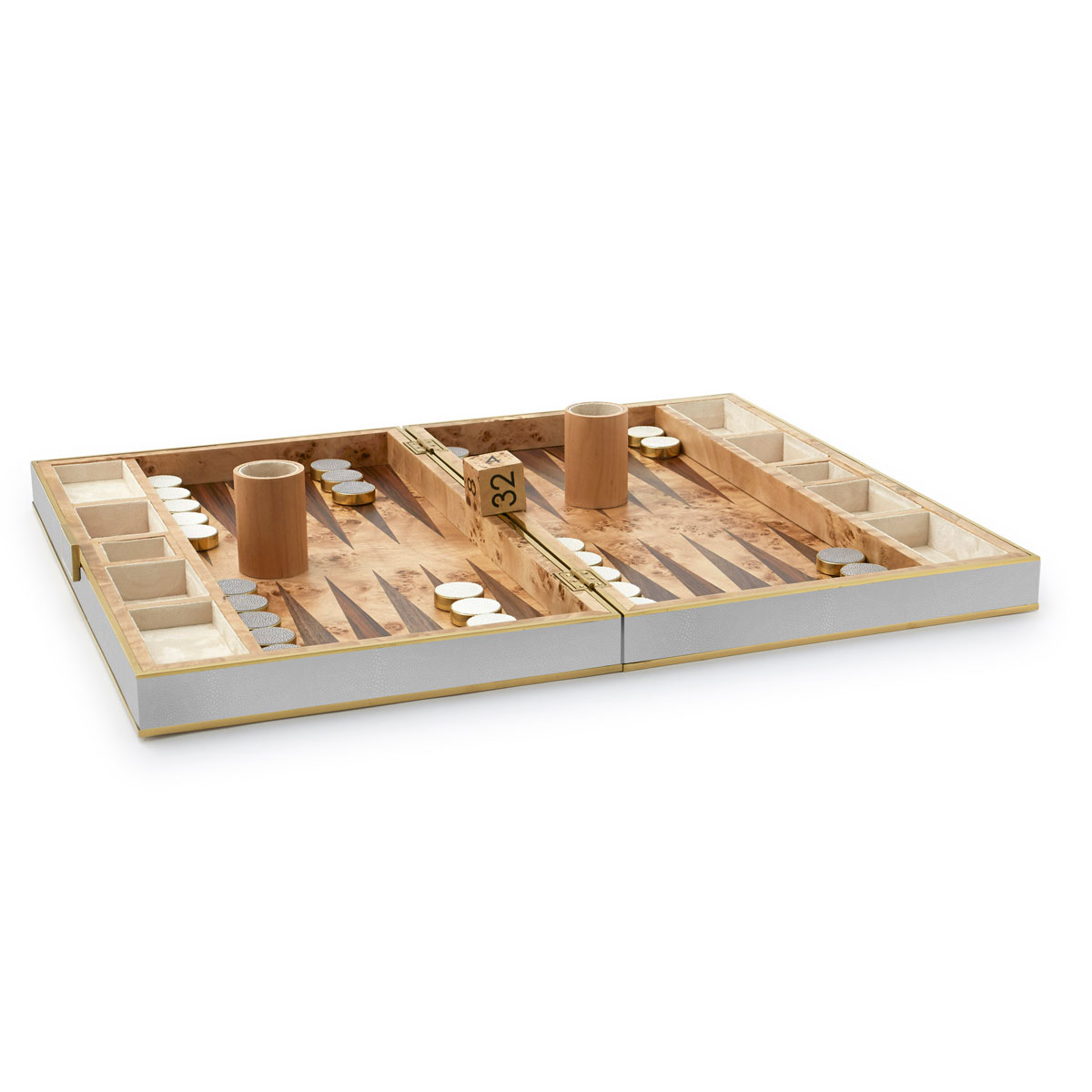 Aerin Shagreen Backgammon Set, Dove