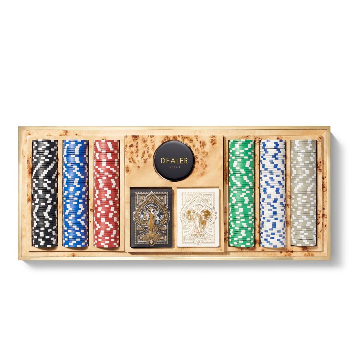 Aerin Shagreen Poker Set, Cream