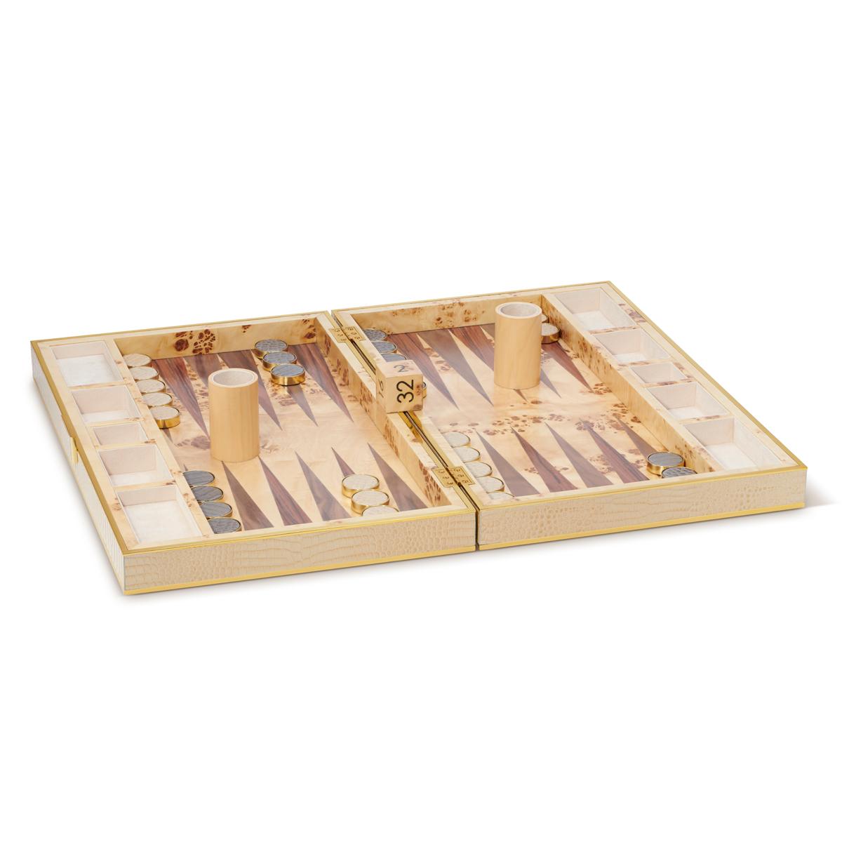 Aerin Croc Leather Backgammon Set, Fawn