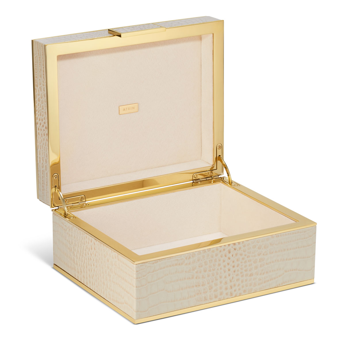 Aerin Classic Croc Small Jewelry Box, Fawn
