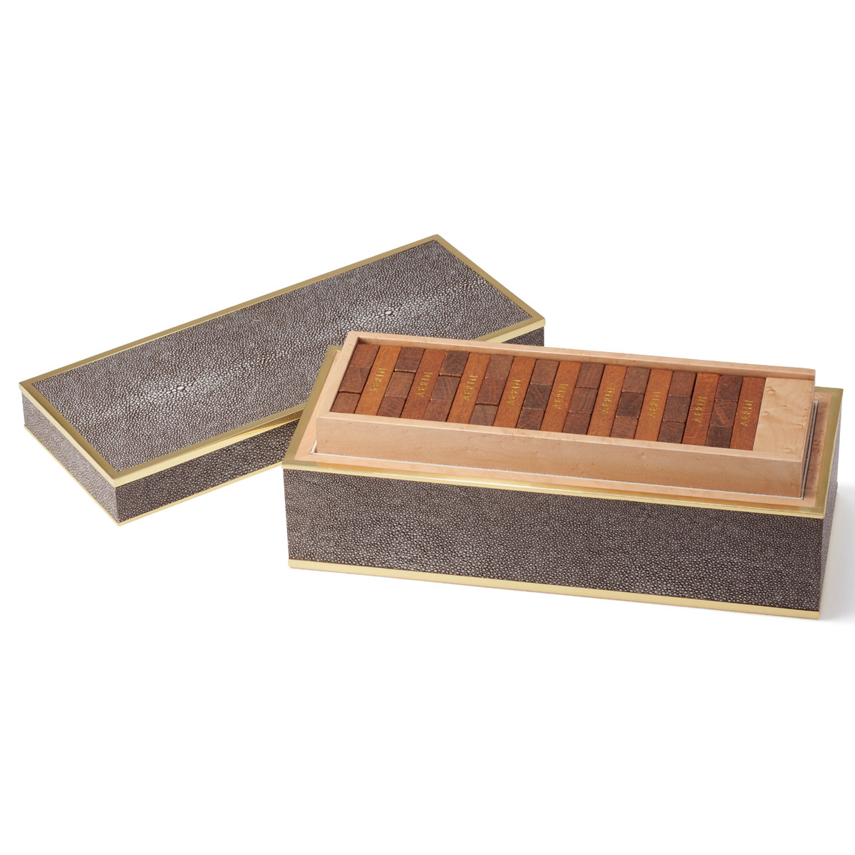 Aerin Shagreen Jenga Set, Chocolate
