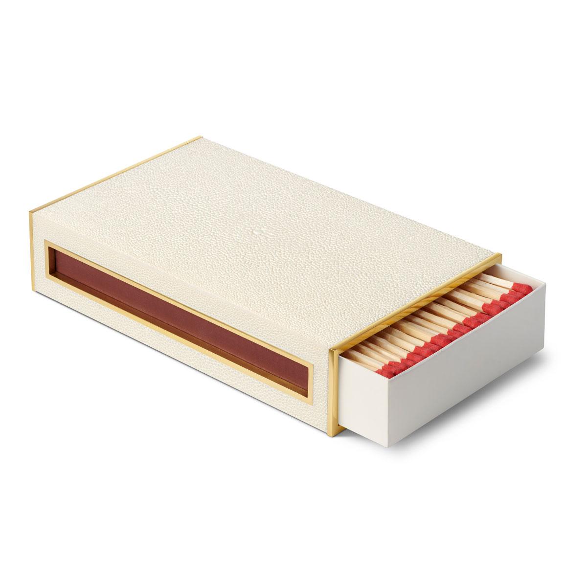 Aerin Shagreen Oversized Match Box, Cream