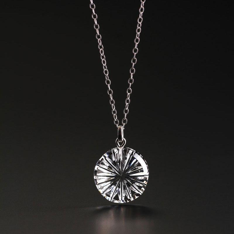 Cashs Ireland, Newgrange Circle Pendant Crystal Necklace, Small