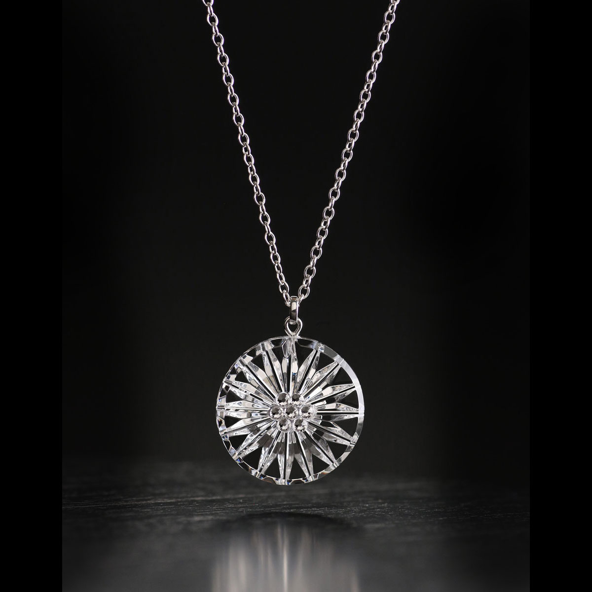 Cashs Ireland, Crystal Wild Irish Rose Pendant Necklace