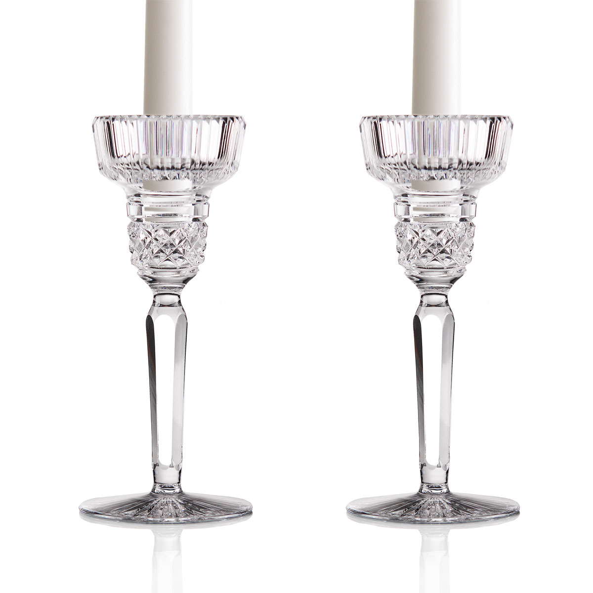 "Cashs Ireland, Cooper 7"" Crystal Candlesticks, Pair"