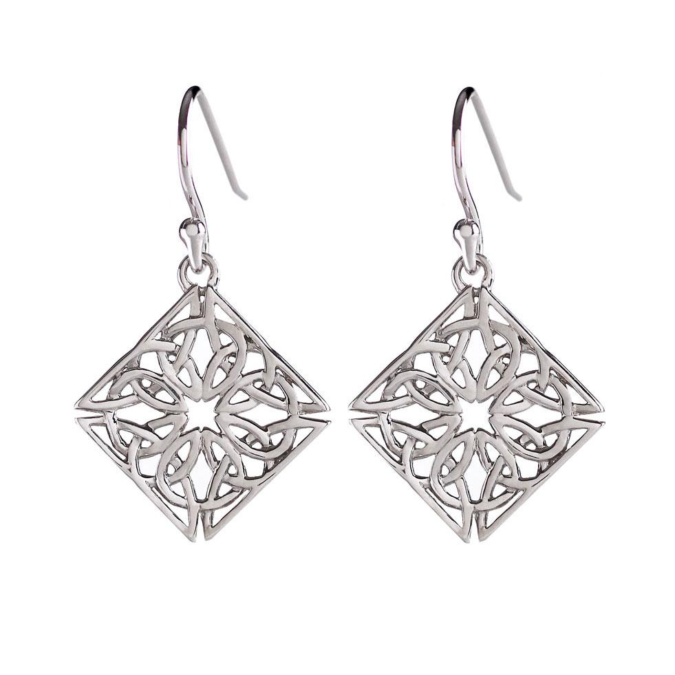 Cashs Ireland, Sterling Silver Trinity Knot Diamond Fishhook Pierced Earrings