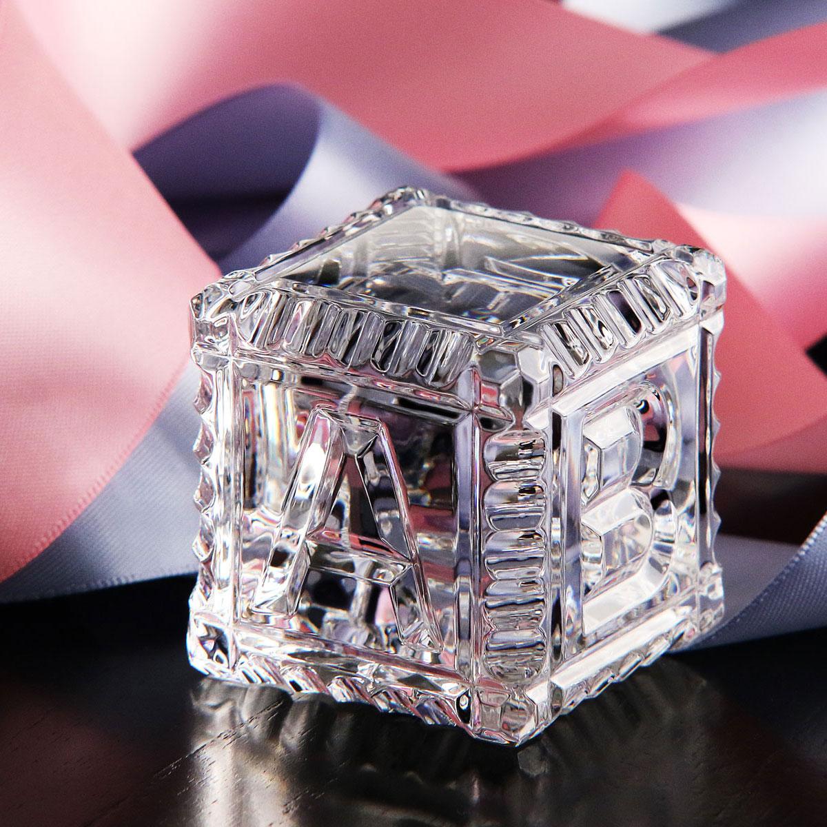 Cashs Ireland, Baby Block Crystal Paperweight