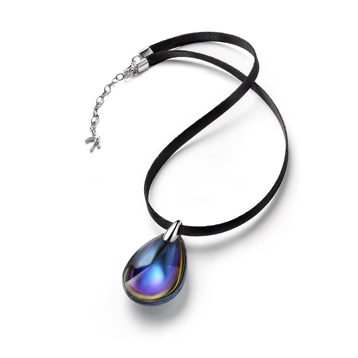 Baccarat Crystal Psydelic Medium Pendant Necklace Sterling Silver Blue Scarabee